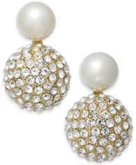 Image of kate spade new york Gold-Tone Imitation Pearl and Fireball Drop Earrings