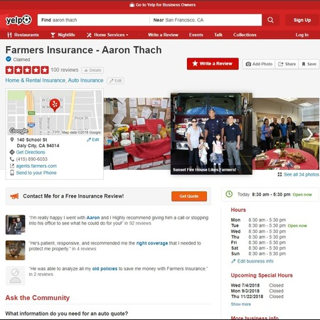 A screenshot of Aaron Thach's Yelp page
