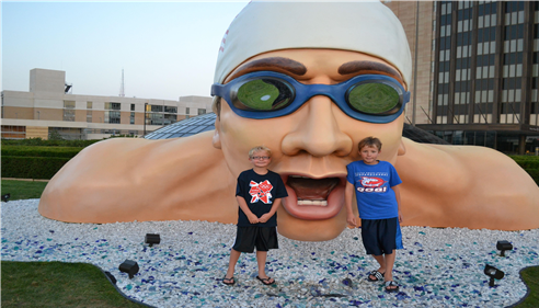 Agent Doug Blasing's two sons at the Olympic swim trials