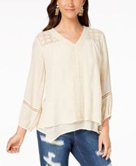 Image of Style & Co Lace-Yoke Handkerchief-Hem Top, Created for Macy's