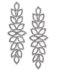 "Image of Thalia Sodi Extra Large Crystal Leaf Drop Earrings, 4"", Created for Macy's"