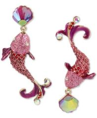 Image of Betsey Johnson Crystal Fish Mismatch Earrings
