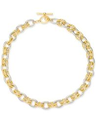 "Image of Charter Club Two-Tone Twisted Link 18"" Necklace, Created for Macy's"