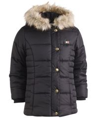 Image of Tommy Hilfiger Hooded Peacoat Puffer Coat with Faux-Fur Trim, Big Girls
