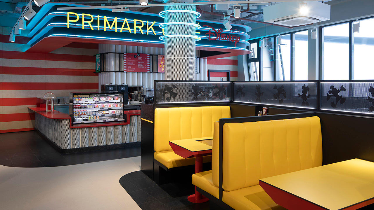 Inside shot of the Disney Cafe in worlds biggest Primark store in Birmingham