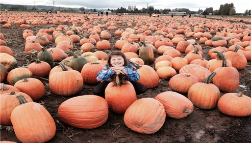 My little girl at Carpinito Brothers Pumpkin Patch in Kent. We love local!