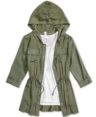 Image of Beautees 3-Pc. Hooded Jacket, Tank Top & Necklace Set, Big Girls (7-16)