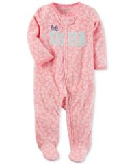 Image of Carter's Little Sister Floral-Print Fleece Footed Coverall, Baby Girls (0-24 months)