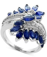 Image of EFFY® Sapphire (3-1/5 ct. t.w.) & Diamond (3/8 ct. t.w.) Ring in 14k White Gold (Also available in T
