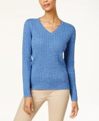 Image of Karen Scott Cotton V-Neck Cable-Knit Sweater, Created for Macy's