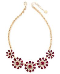 Image of Charter Club Gold-Tone Clear & Red Crystal Flower Statement Necklace, Created for Macy's