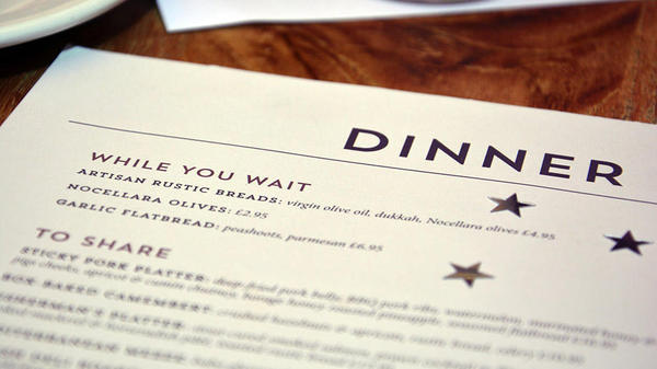 high-end single-use custom printed dining menu