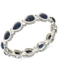 Image of Nine West Silver-Tone Blue Stone Stretch Bracelet
