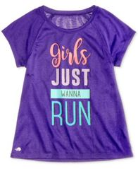 Image of Ideology Girls Just Wanna Run Graphic T-Shirt, Little Girls (4-6X) & Big Girls (7-16), Created for M