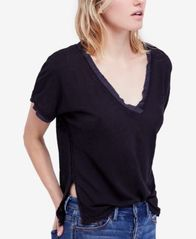 Image of Free People Take Me Raw-Edge Contrast T-Shirt