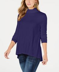 Image of Style & Co Mock-Neck High-Low Top, Created for Macy's
