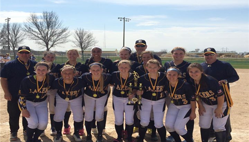 A team photo of the Prior Lake High School Girls Softball Team, at the Mankato East Tournament.