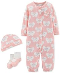 Image of Carter's Baby Girls 3-Pc. Butterfly-Print Cotton Hat, Convertible Coverall & Socks Set