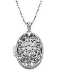 "Image of Giani Bernini Cubic Zirconia Oval Filigree Heart Locket 18"" Pendant Necklace, Created for Macy's"