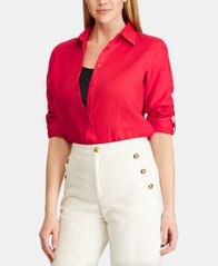 Image of Lauren Ralph Lauren Straight Fit Linen Shirt