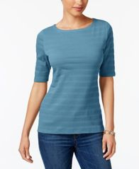 Image of Charter Club Elbow-Sleeve Textured Top, Created for Macy's