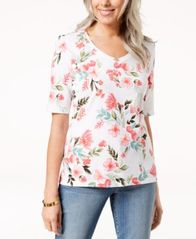 Image of Karen Scott Printed V-Neck Top, Created for Macy's