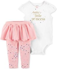 Image of Carter's Baby Girls 2-Pc. Daddy's Princess Cotton Bodysuit & Tutu Leggings Set