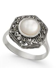 Image of Mother-of-Pearl and Marcasite Filigree Statement Ring in Silver-Plate