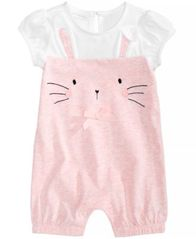 Image of First Impressions Cotton Bunny Romper Baby Girls, Created for Macy's