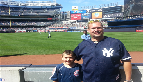 At the Yankees game to see the Yankees and the Texas Rangers.  What a great day.