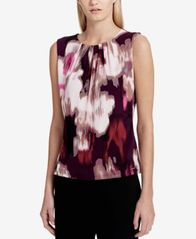 Image of Calvin Klein Floral-Print Pleated Shell