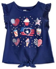 Image of Epic Threads Little Girls Ruffle-Sleeve Graphic-Print T-Shirt, Created for Macy's