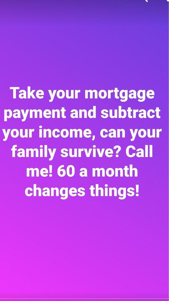 photo of a purple screen with white text discussing mortgage payments and life insurance.