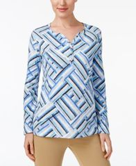 Image of Karen Scott Print Henley Top, Created for Macy's