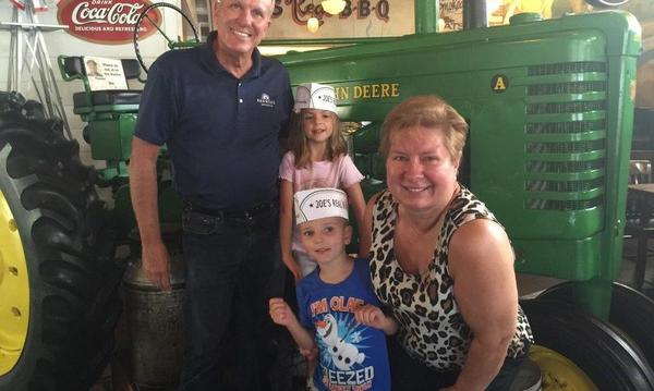 "Time out with Grandkids to enjoy Gilbert's famous ""Joe's BBQ"""