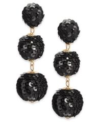 Image of INC International Concepts Gold-Tone Sequined Ball Triple Drop Earrings, Created for Macy's