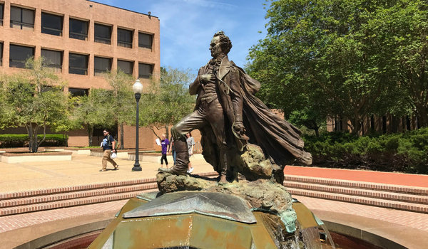 """Surfin' Steve"" statue on the campus of SFA in Nacogdoches."