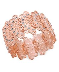 Image of I.N.C. Rose Gold-Tone Crystal Filigree Stretch Bracelet, Created for Macy's