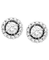 Image of Arabella 14k White Gold Earrings, Swarovski Zirconia Round Pave Stud Earrings (2-7/8 ct. t.w.)