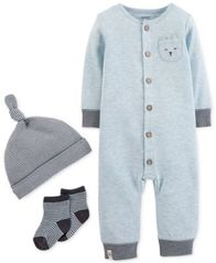 Image of Carter's Baby Boys 3-Pc. Striped Hat, Coverall & Socks Set