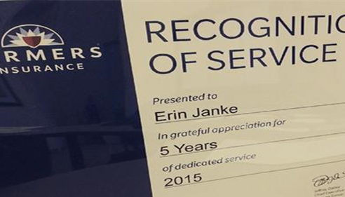 Agent's 5 year recognition of service certificate
