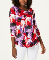 Image of JM Collection Abstract Blooms Printed Top, Created for Macy's