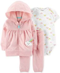 Image of Carter's Baby Girls 3-Pc. Rainbow Hoodie, Bodysuit & Jogger Pants Set