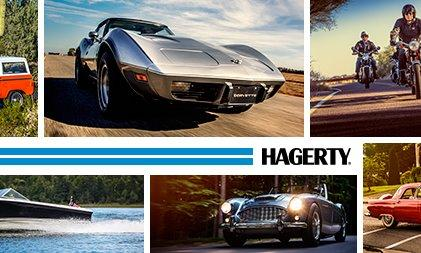 A mosaic of cars, boats, and motorcycles with the logo for Hagerty in the middle
