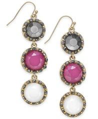 Image of INC International Concepts Gold-Tone Triple Stone Drop Earrings, Created for Macy's