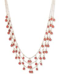 Image of Anne Klein Gold-Tone Shaky Bead Multi-Layer Necklace