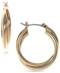 Image of Nine West Silver-Tone Twisted Hoop Earrings