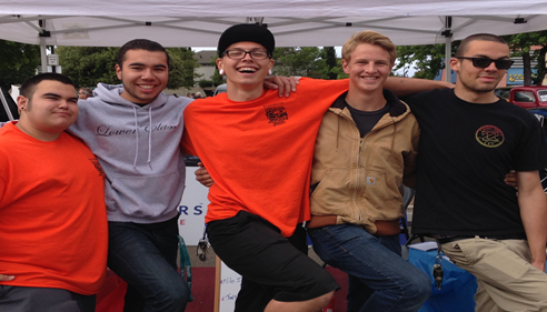 Zach and his friends at the 2014 Washington High School Car Show