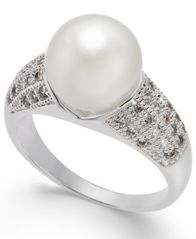Image of Charter Club Silver-Tone Pavé & Imitation Pearl Ring, Created for Macy's