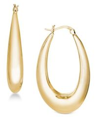 Image of Essentials Gold Plated Medium Polished Graduated Puff Hoop Earrings